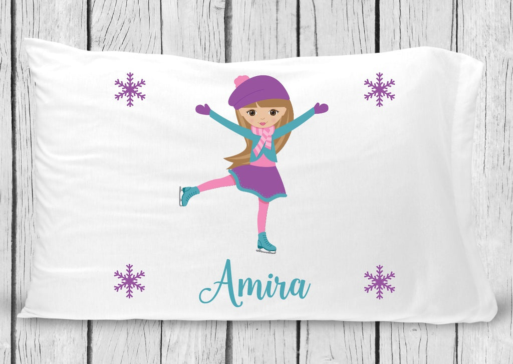 pc52 Brown Hair Ice Skater Pillowcase