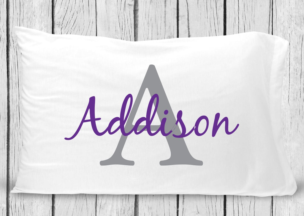 pc62-gp Gray Purple Name Pillowcase