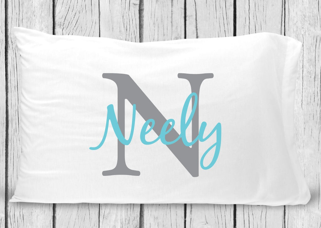 pc62-gt Gray Turquoise Name Pillowcase