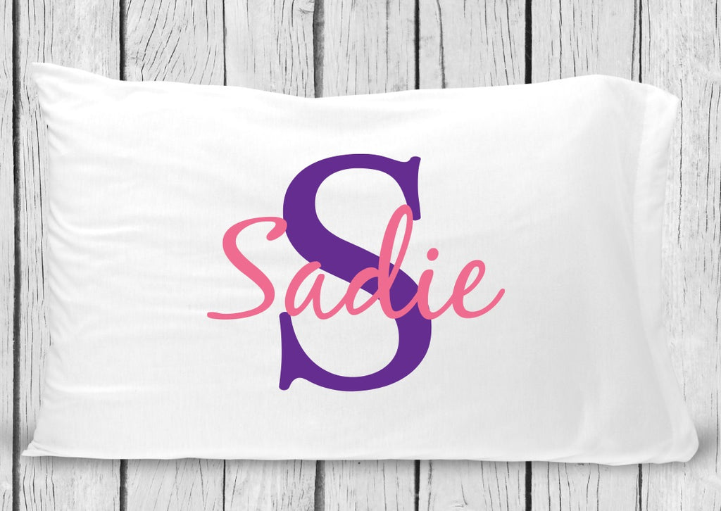 pc62-pp Pink Purple Name Pillowcase