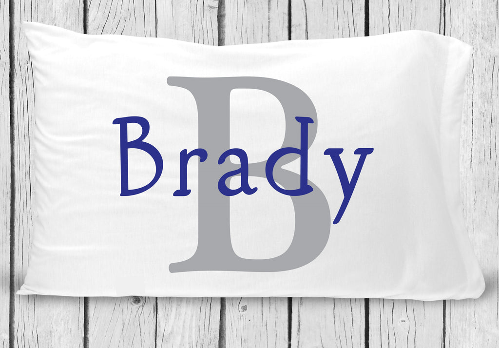 pc69-b Blue Gray Name Pillowcase
