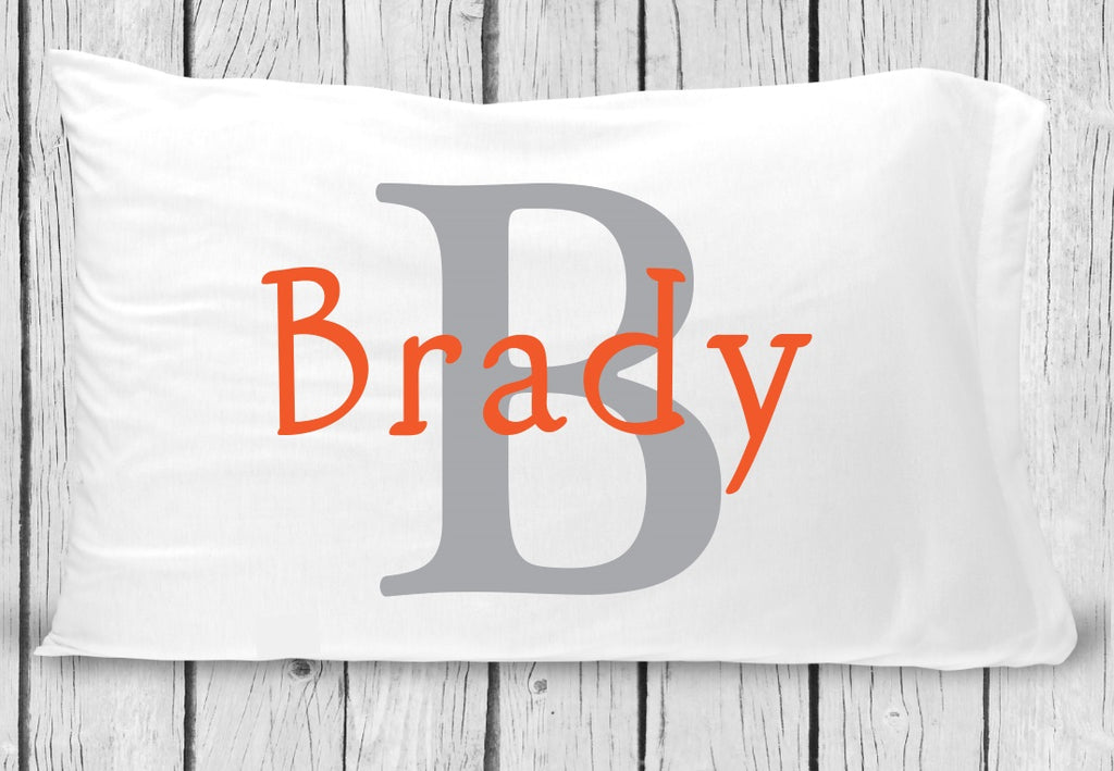 pc69-o Gray Orange Name Pillowcase