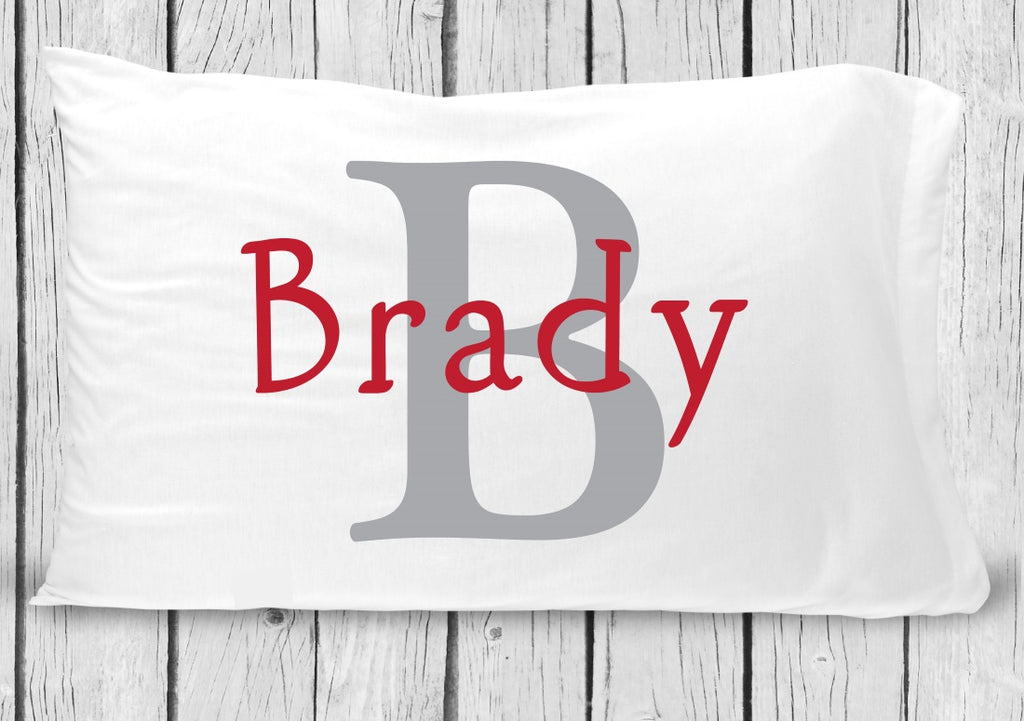 pc69-r Gray Red Name Pillowcase