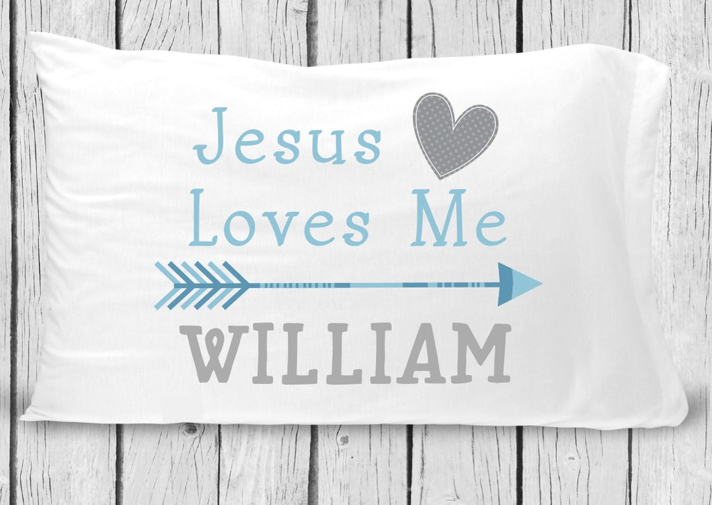 pc82 Jesus Loves Me Blue Pillowcase