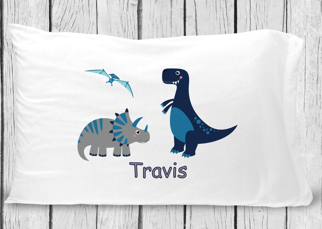 pc86 Navy Gray T Rex Pillowcase