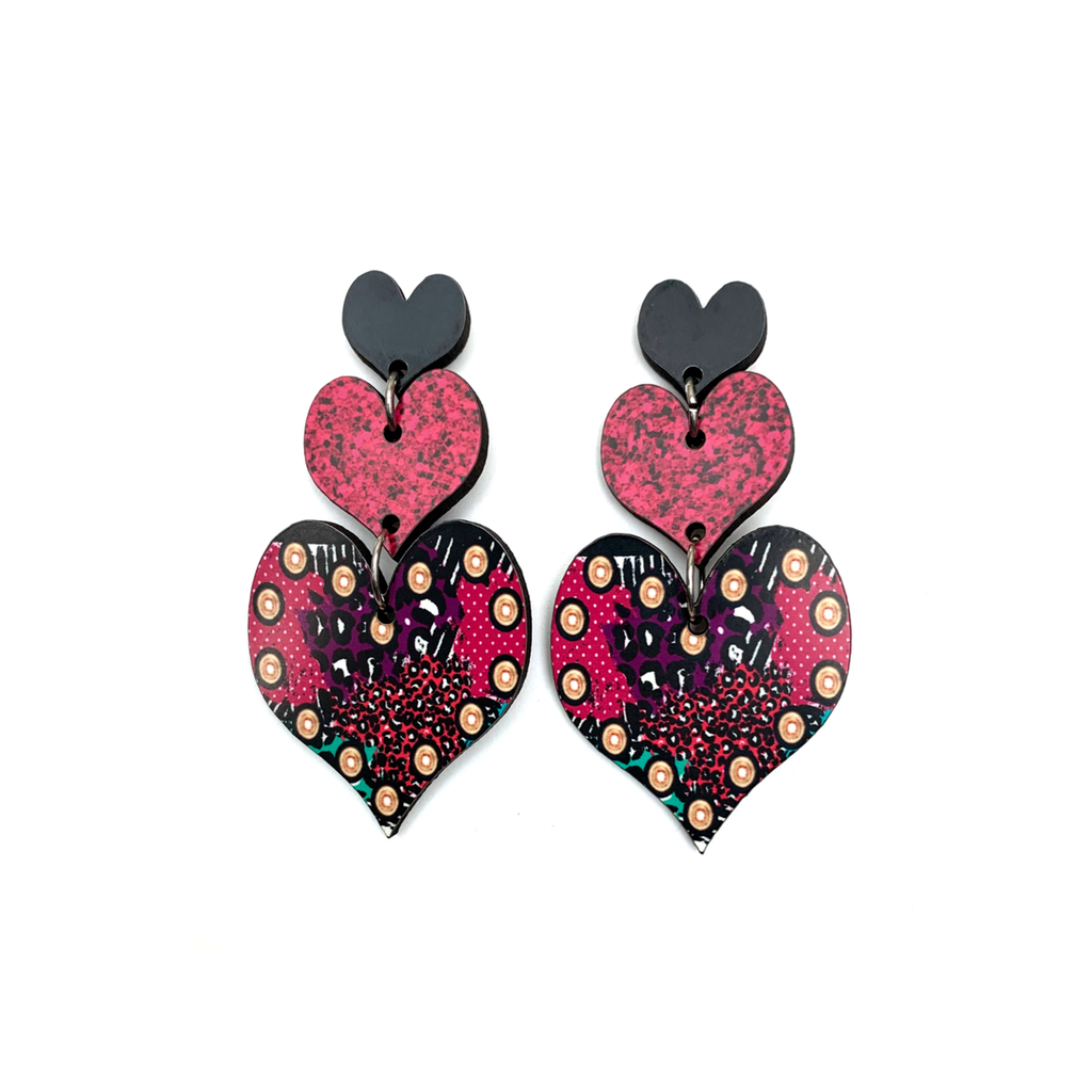 cer24 Multi Swatches Triple Heart Earring