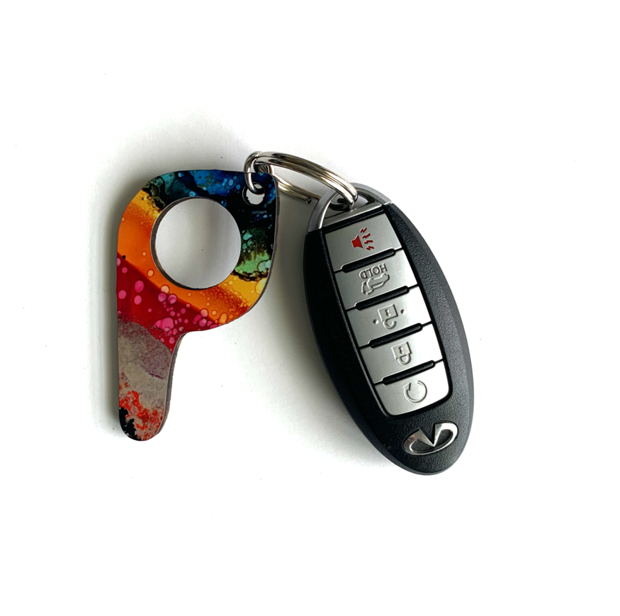 bp06 Rainbow Button Pusher Key Chain