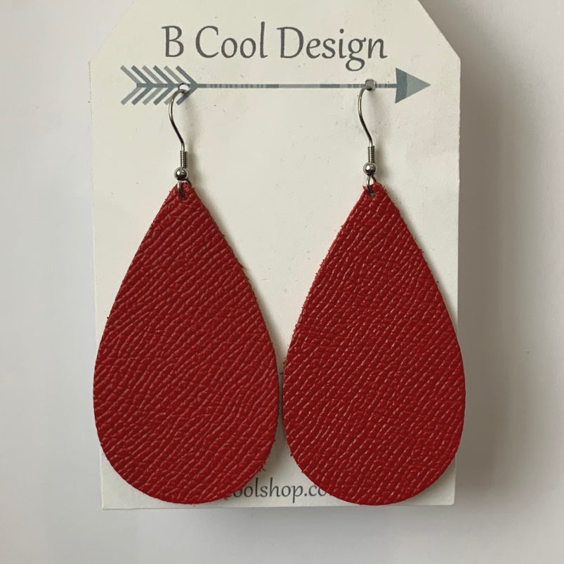 gl14 Red Leather Earring
