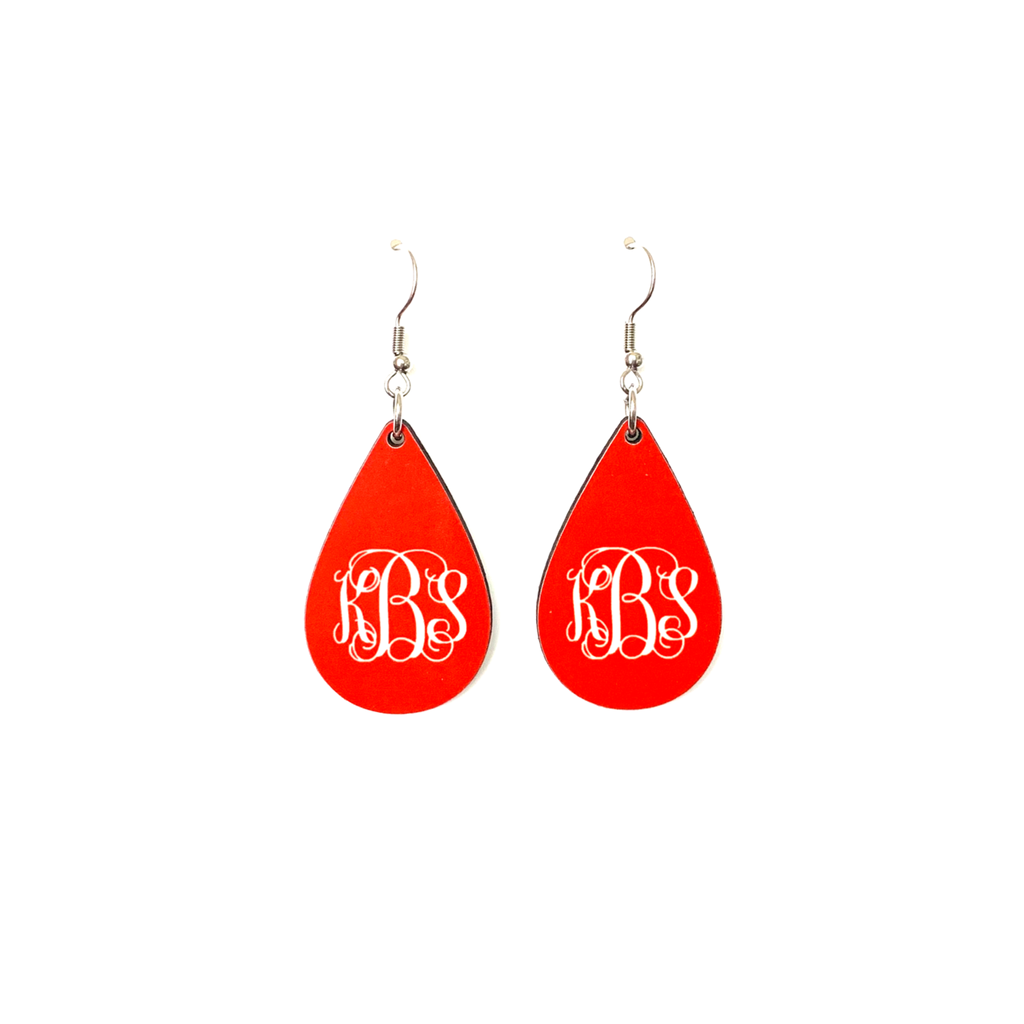 mer02 Red Monogram Earring-Standard Size
