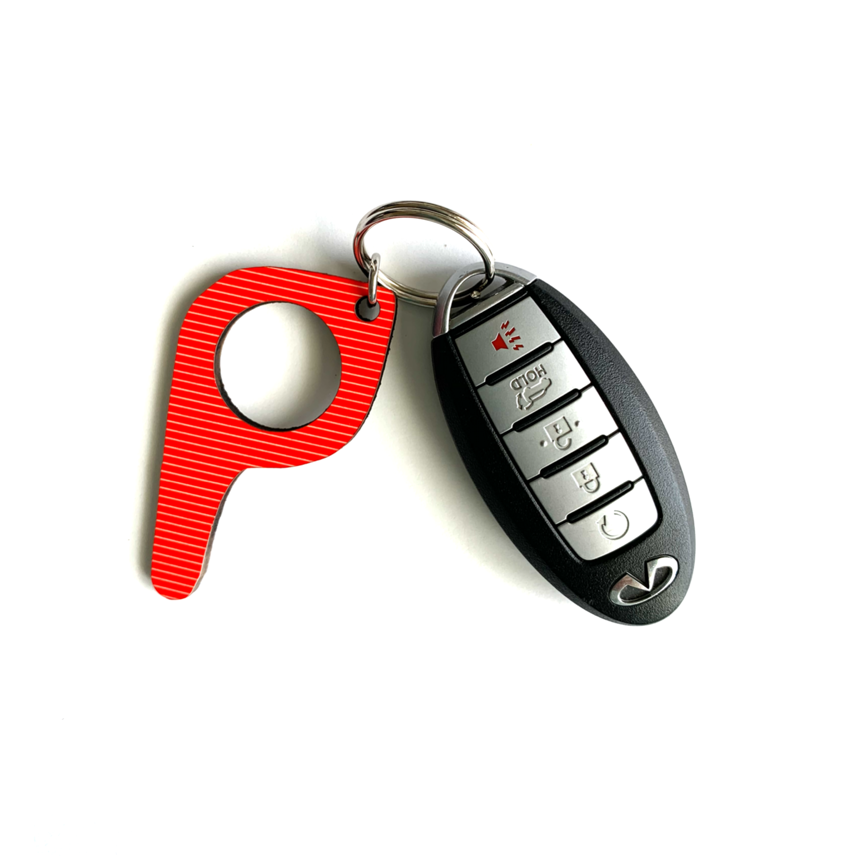 bp10 Red Stripe Button Pusher Key Chain