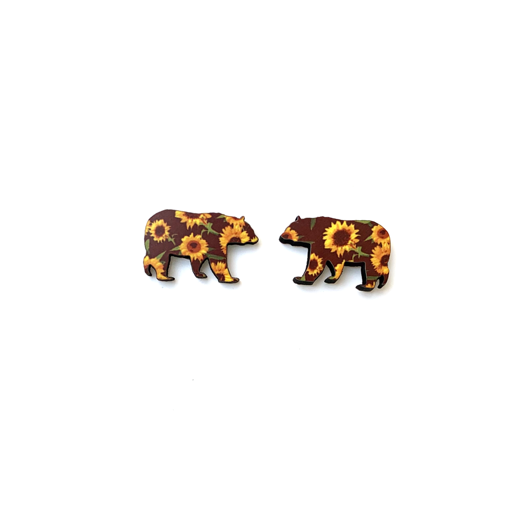 ste05 Sunflower Bear Stud Earring