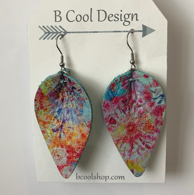 gl13 Tie Dye Leather Earring