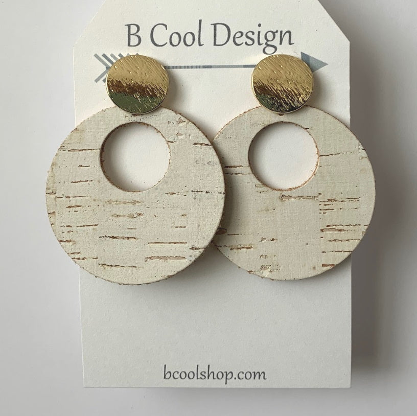 sl02-Signature Circle White Cork Earring