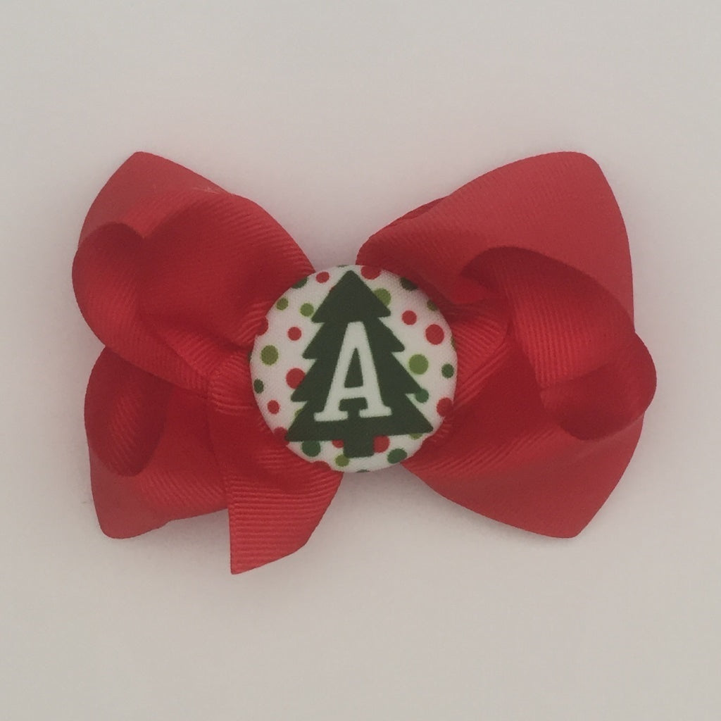 bw11 Christmas Initial Hairbow