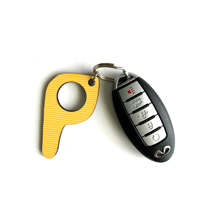 bp23 Yellow Stripe Button Pusher Key Chain
