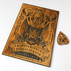 Laser etched 'BAT OUIJA BOARD with PLANCHETTE'