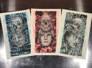 Picasso, Warhol and Dali 'SKULL EXTRACTIONS' - set of 3 Risograph prints.