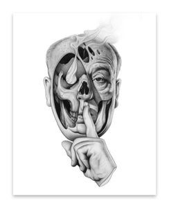 Hitchcock and skull - Giclee print