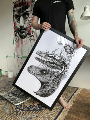 "Raptor Skull Extraction - 24x36"" print."