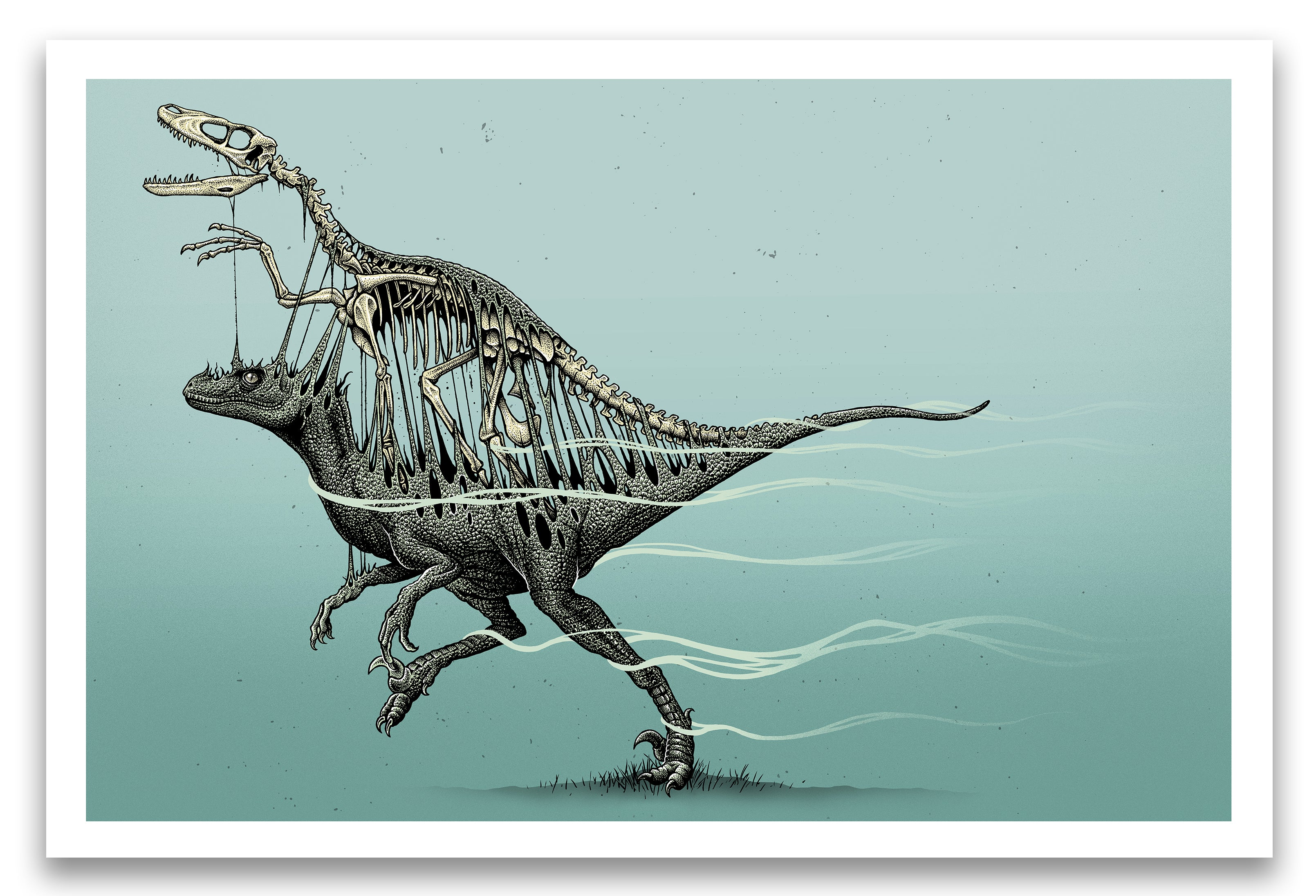 "'Velociraptor Skeleton Extraction' Archival Giclee print 24x36"" *TIMED EDITION*"
