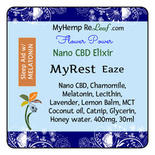 Load image into Gallery viewer, 400mg Nano CBD Flower Power MyRest Eaze - THC free (Select drop down Buy 2 for 20% savings)