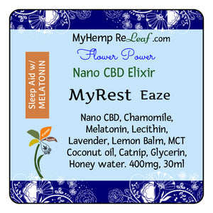 400mg Nano CBD Flower Power MyRest Eaze - THC free (Select drop down Buy 2 for 20% savings)
