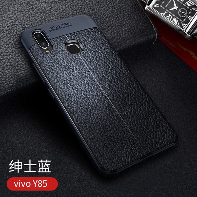 check out 10ea9 4db9f For VIVO V9 Case Luxury Leather texture Soft Silicone Protective back cover