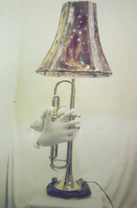 Lamp with Hands Playing the Trumpet
