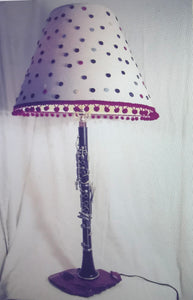 Clarinet Lamp with Polkadot Shade
