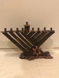 Wood And Copper Menorah