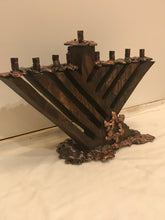 Load image into Gallery viewer, Wood And Copper Menorah