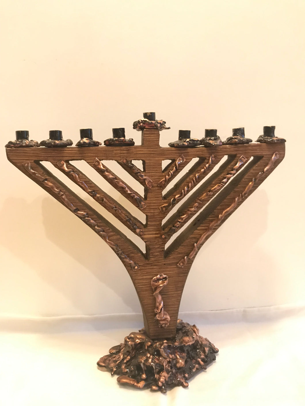 Traditional Wood and Copper Menorah