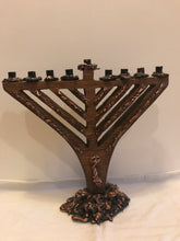 Load image into Gallery viewer, Traditional Wood and Copper Menorah