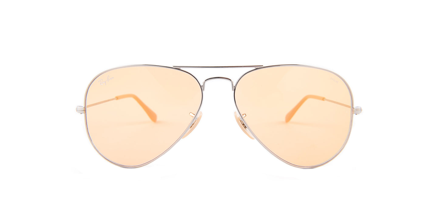 Ray Ban - Aviator Silver/Orange Women Sunglasses - 58mm