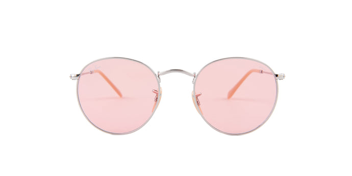 Ray Ban - Round Metal Silver/Pink Oval Unisex Sunglasses - 50mm