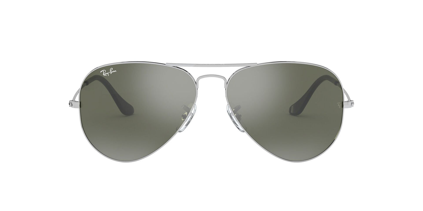Ray Ban - Aviator Silver/Gray Mirror Unisex Sunglasses - 55mm