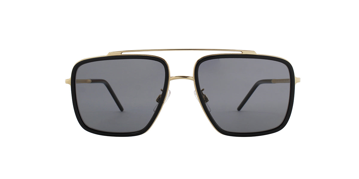 Dolce Gabbana DG2220 Gold/Black / Dark Gray Lens Solid Polarized Sunglasses