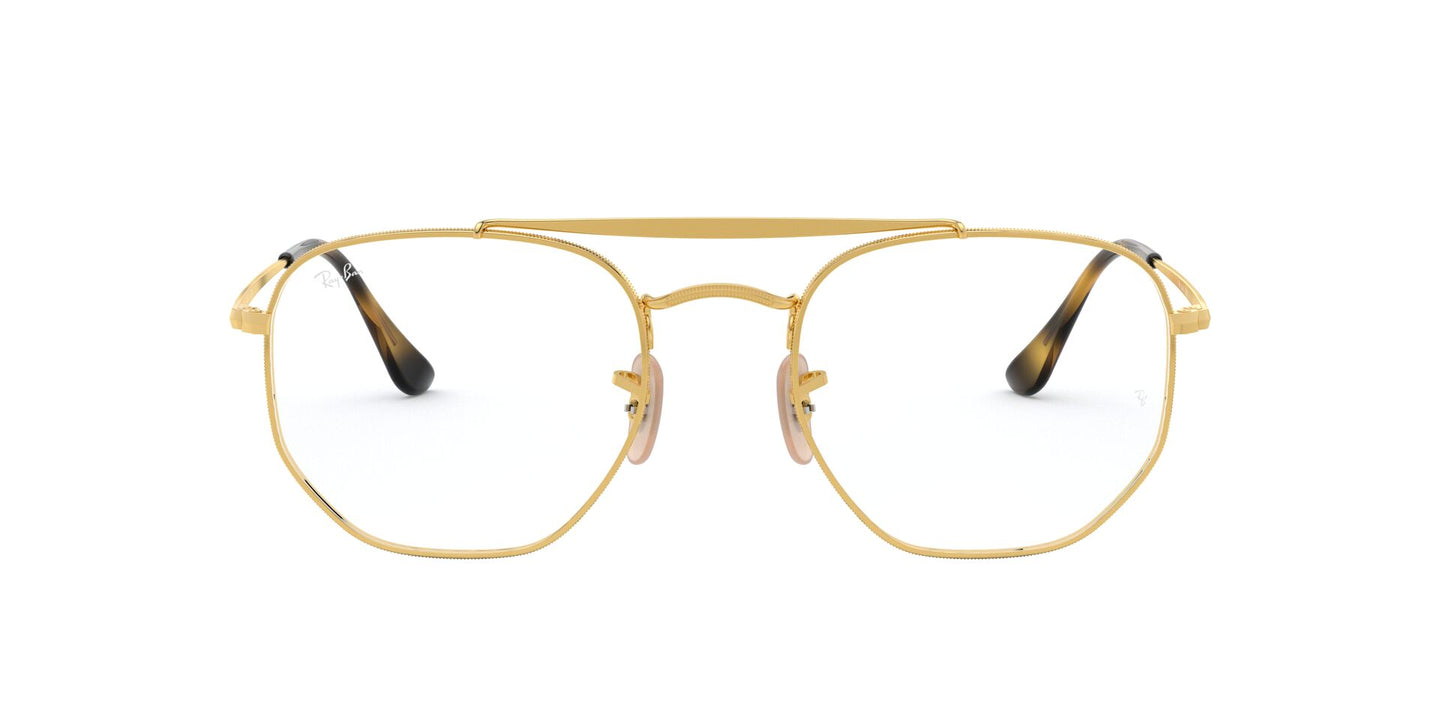 Ray Ban Rx - RB3648V Gold Square Unisex Eyeglasses - 54mm