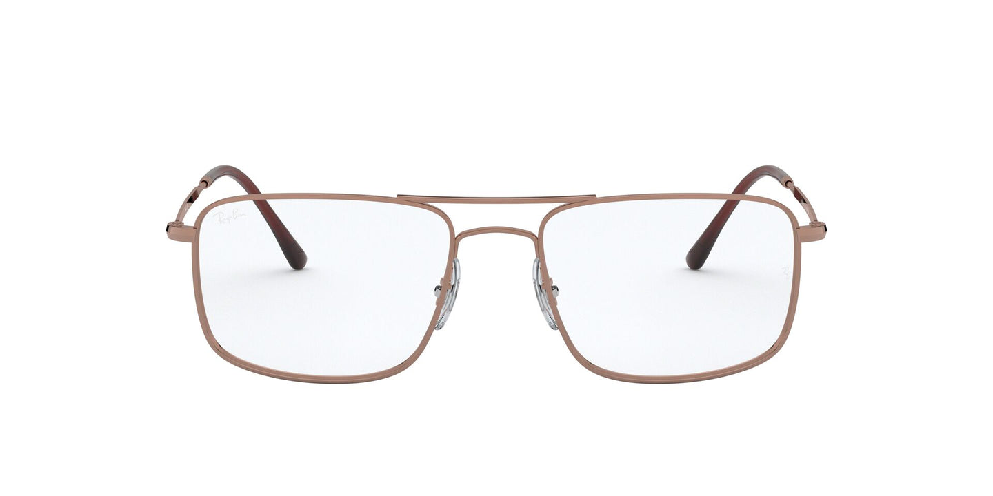 Ray Ban Rx - RX6434 Rose Gold Square Unisex Eyeglasses - 55mm