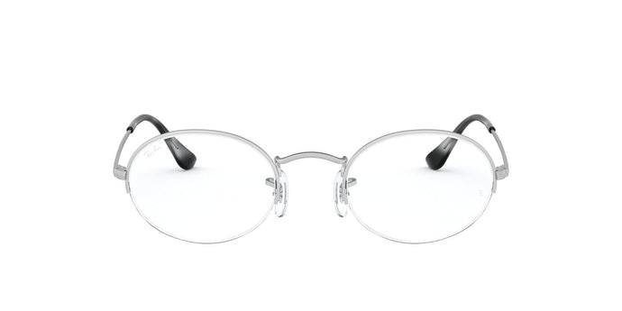 Ray Ban Rx - RX6547 Silver Oval Unisex Eyeglasses - 52mm