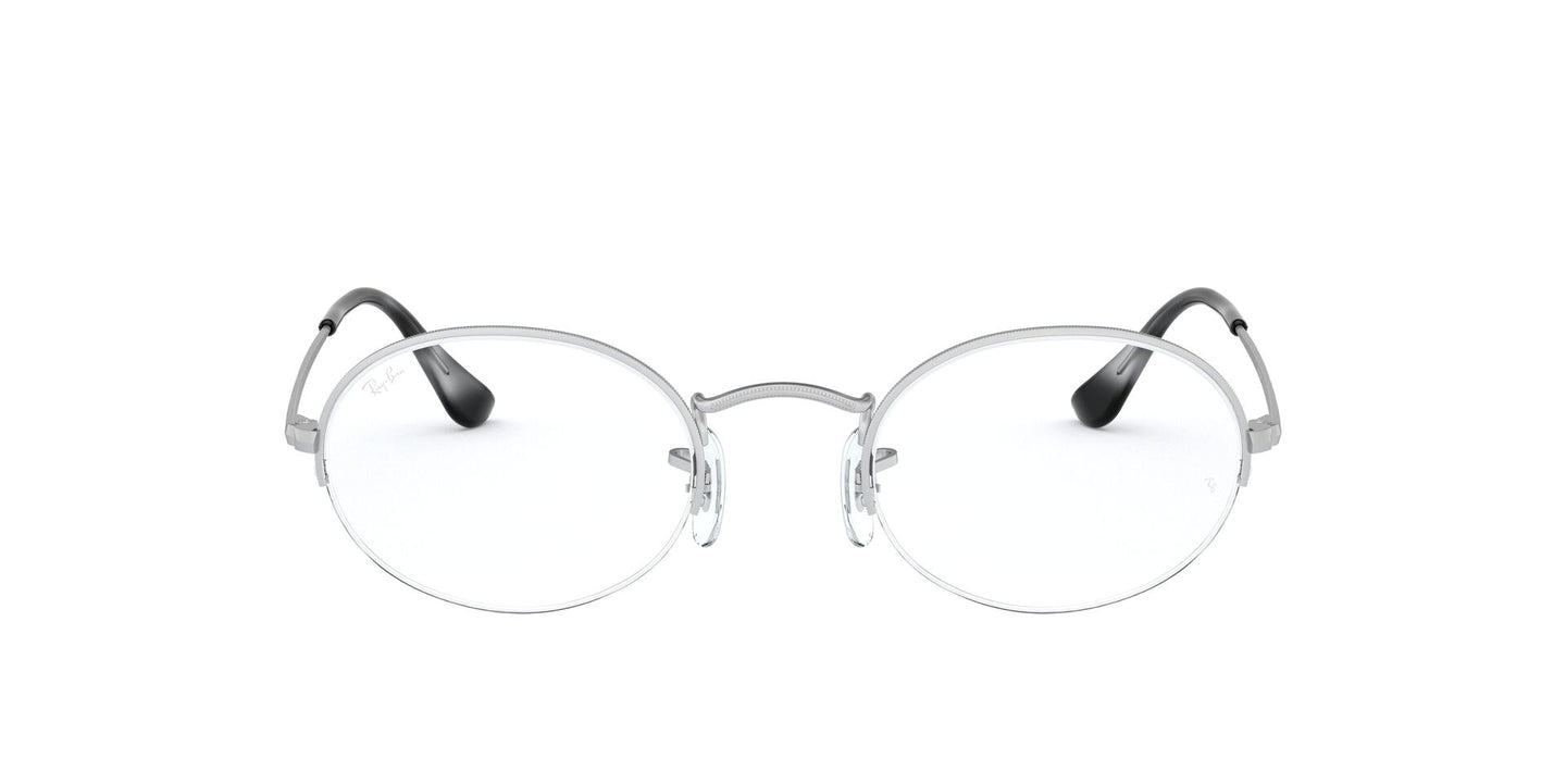Ray Ban Rx - RB6547 Silver Oval Unisex Eyeglasses - 52mm