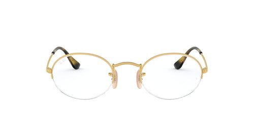 Ray Ban Rx - RB6547 Gold Oval Unisex Eyeglasses - 52mm