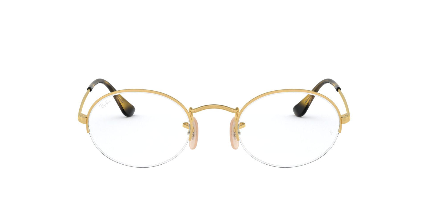Ray Ban Rx - RX6547 Gold Oval Unisex Eyeglasses - 52mm