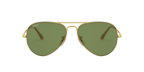 Ray Ban - RB3689 Gold Aviator Unisex Sunglasses - 58mm