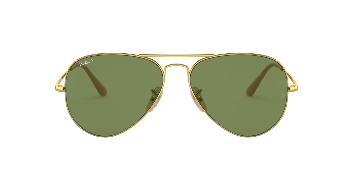 Ray Ban - RB3689 Gold/Green Polarized Aviator Unisex Sunglasses - 58mm