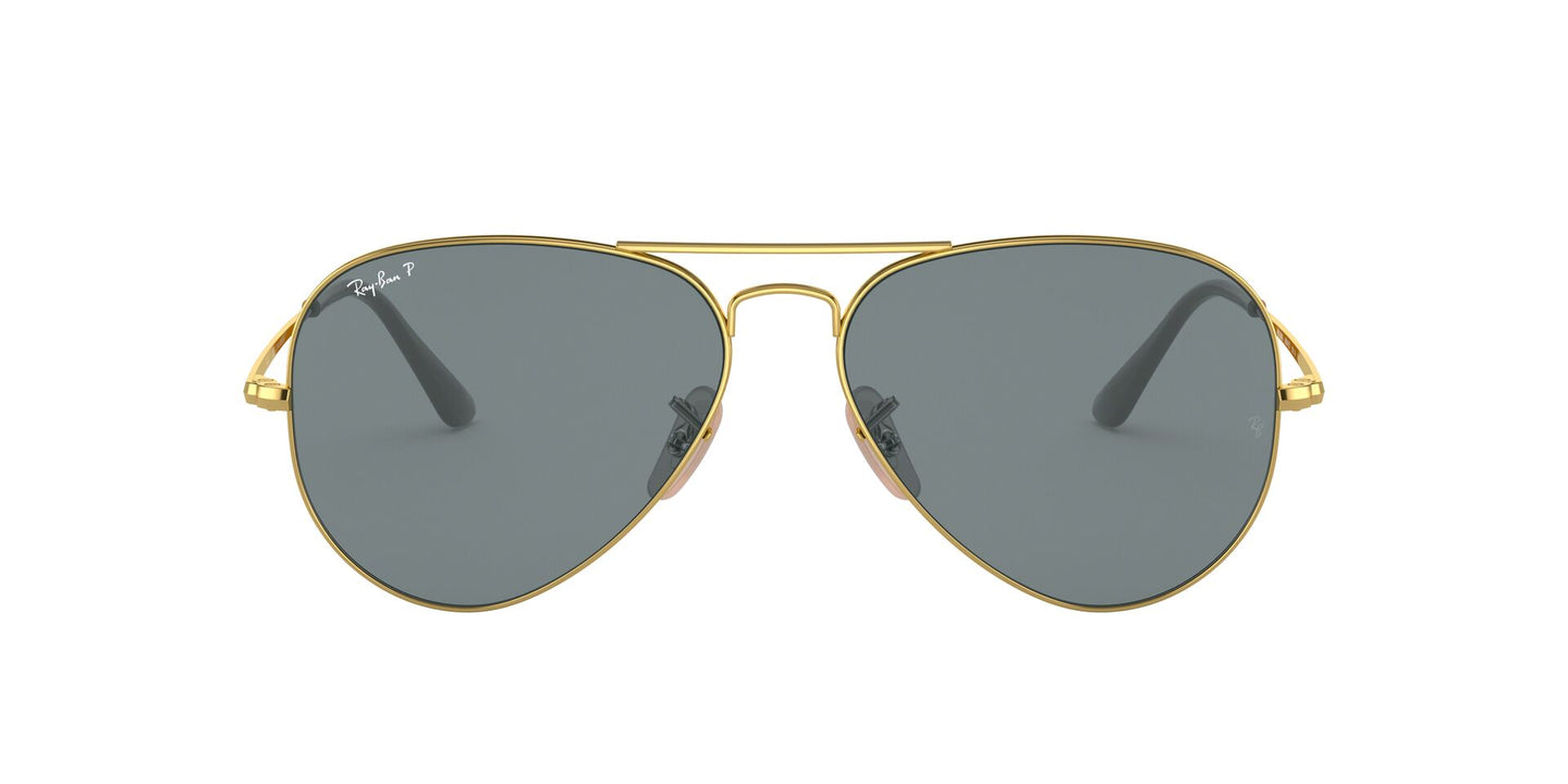 Ray Ban - RB3689 Gold/Blue Polarized Aviator Unisex Sunglasses - 58mm