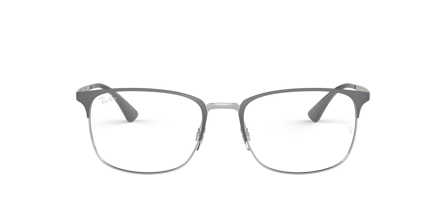 Ray Ban Rx - RX6421 Silver On Top Grey Rectangular Unisex Eyeglasses - 52mm