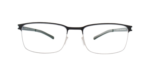 Mykita - Gerhard Silver Black/Clear Rectangular Men Eyeglasses - 52mm
