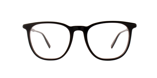 Montblanc - MB0010O Shiny Black/Clear Square Men Eyeglasses - 53mm