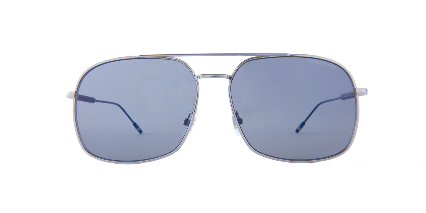 Montblanc - MB0046S Silver/Grey Aviator Men Sunglasses - 61mm